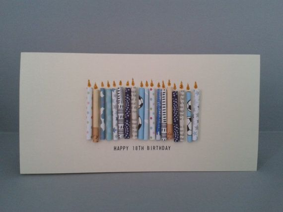 Happy 18th Birthday Candle Card with 18 paper candles, Male, Handmade. on Etsy, $9.50