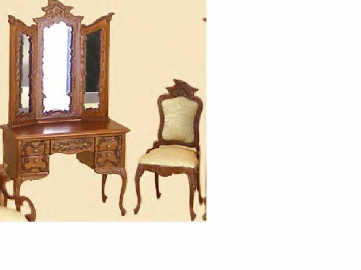 Bespaq Dollhouse Miniature bedroom furniture set vanity dresser table/chair