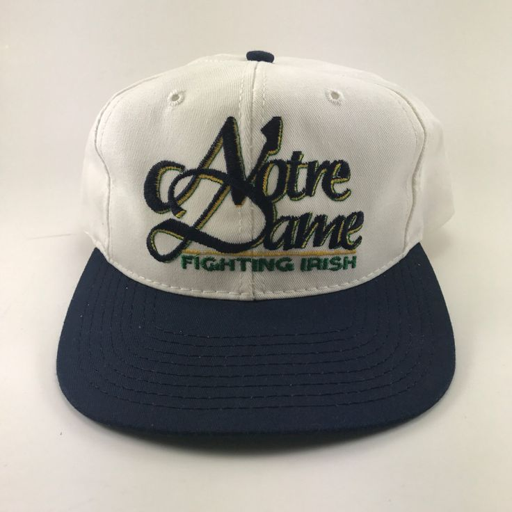 A personal favorite from my Etsy shop https://www.etsy.com/listing/484768848/vtg-notre-dame-snapback-hat-the-game