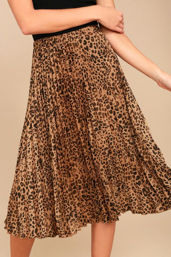 9115f220025 Roxie Leopard Print Pleated Midi Skirt in 2019