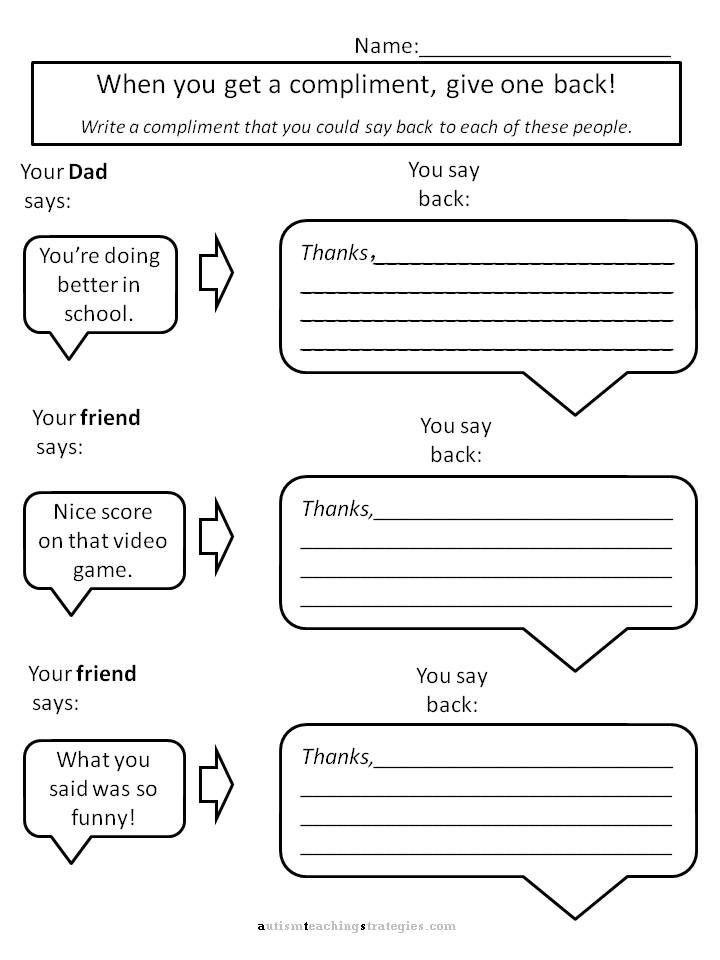 Helping kids with Asperger's to give compliments: Worksheets for social skills teaching | AutismTeachingStrategies.com