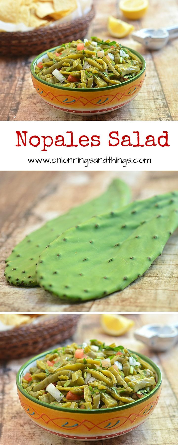 Nopales Salad is a vibrant, nutrient packed salad made with prickly pear cactus, onions, tomatoes, lime and chili peppers