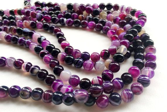 Purple Agate Beads Purple Agate Smooth Round by gemsforjewels