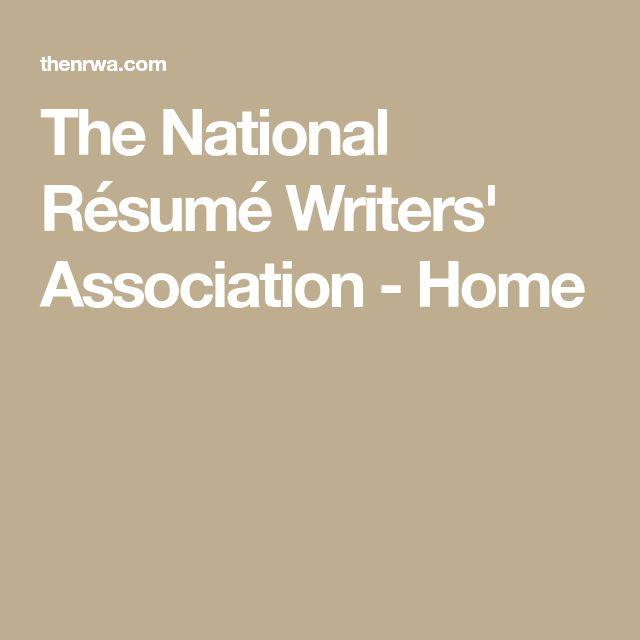 The National Résumé Writersu0027 Association   Home  National Resume Writers Association