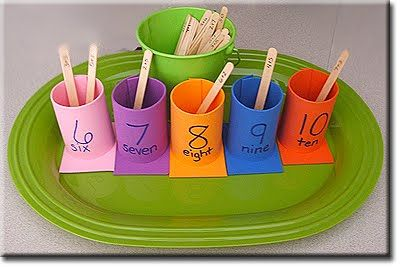 Robbie's addition cups. Make with foam sheets and craft sticks (both from the Dollar Tree).