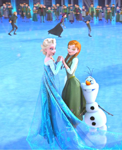 """Elsa, Anna and Olaf from Disney's """"Frozen""""."""