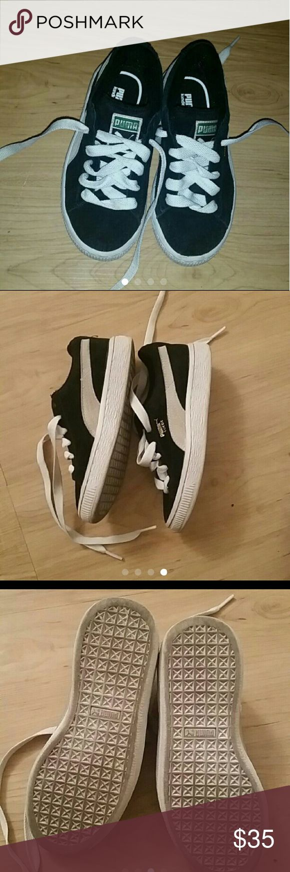 Black & white Pumas OPEN TO OFFERS   Black and white suede Pumas Kid Size 12 I washed the laces Almost like new Barely worn They're too small now So that's why I'm selling Perfect Condition Unisex For lil boy or lil girl to wear Clean bottoms    Pet free Smoke free home pumas Shoes Sneakers