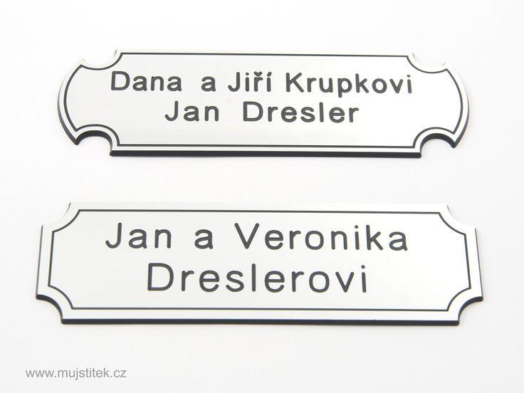 Obě varianty stříbrné jmenovky na dveře o rozměrech 10 x 4 cm. http://www.mujstitek.cz/plastove-jmenovky/92-plastova-jmenovka-na-dvere-stribrna-typ-d.html