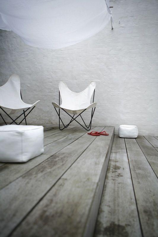 © 2007 Items Knokke   design: Nicky Sulmon: Decks Color, Weather Woods, Butterflies Chairs, Interiors Design, Grey Woods Floors, White Butterflies, Vintage Living, Modern Interiors, White Floorboards