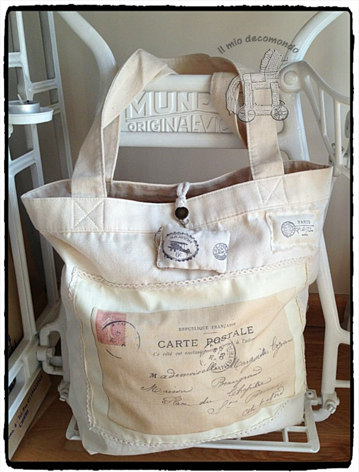 retro postcard vintage cotton bags