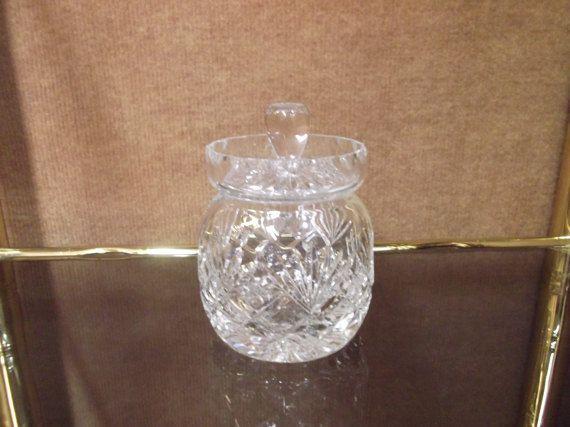 Azucarero de cristal,tallado a mano.Vintage