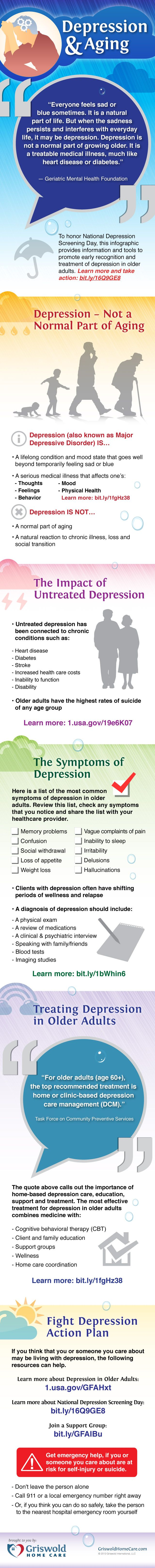 To honor National Depression Screening Day, this infographic provides information and tools to promote early recognition and treatment of depression in older adults. Learn more and take action! #depression #infographic