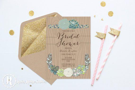 Printable Bridal Shower Invitation, Sweet Succulents, Vintage Rustic Style, Hens Party, Kitchen Tea, DIY Printable Invitations