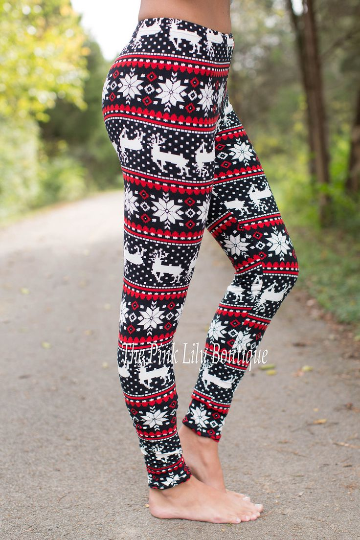 Reindeer Leggings Red and Black - The Pink Lily Boutique