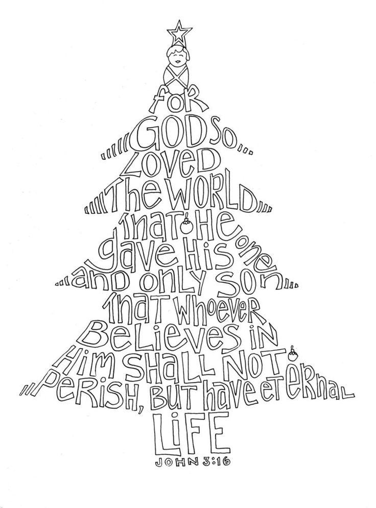 John 316 Coloring Page Christmas tree coloring page