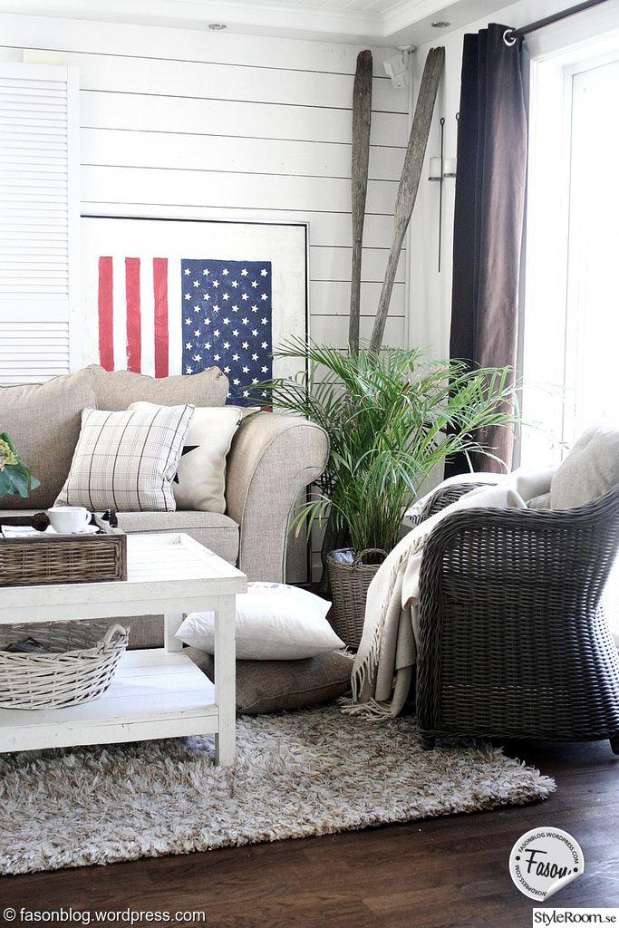 new england,kustnära,coastal living,rotting,artwood,amerikanska flaggan,jalusier,åror,vardagsrum,romanticsweden.se