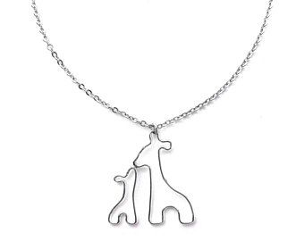 New Mom Necklace, Mother and Baby Giraffe Necklace, Mom Jewelry, New Mother Gift, Mom and Baby Giraffe Pendant, Mother and Baby Necklace