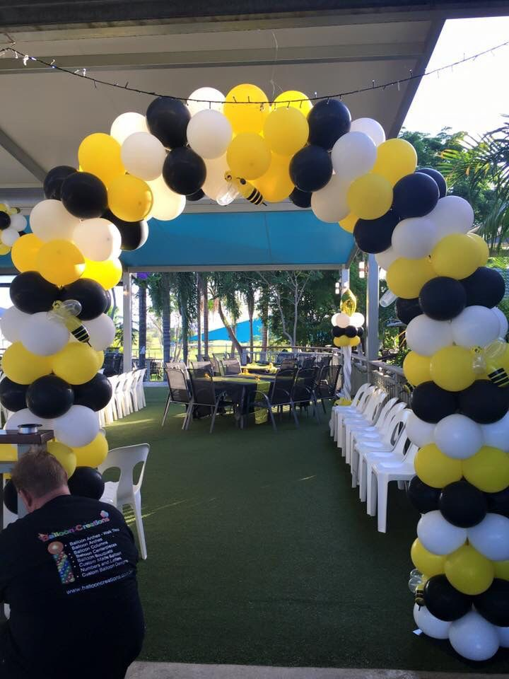 Yellow Black And White Balloon Arch With Some Cute Little Bumblebees