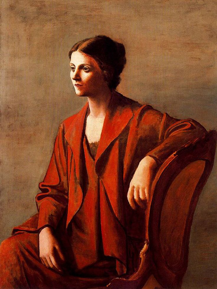 Olga, 1923, by Pablo Picasso. (Olga Stepanovna Khokhlova, Russian-Ukrainian ballet dancer, more widely known as the first wife of Pablo Picasso and the mother of his son Paulo. Born: 17 June 1891; Deceased: 11 February 1955.):