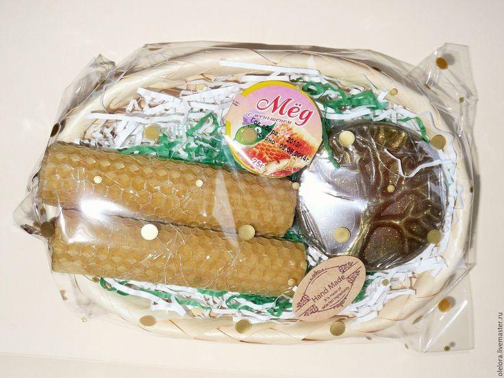 """Купить Набор """"Медовое удовольствие"""" - желтый, подарок, подарочный набор, Свечи, мыло ручной работы"""