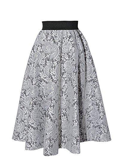 67504b301e Elegant lace skirt women knee-length pleated skirt A-lines S27 ...