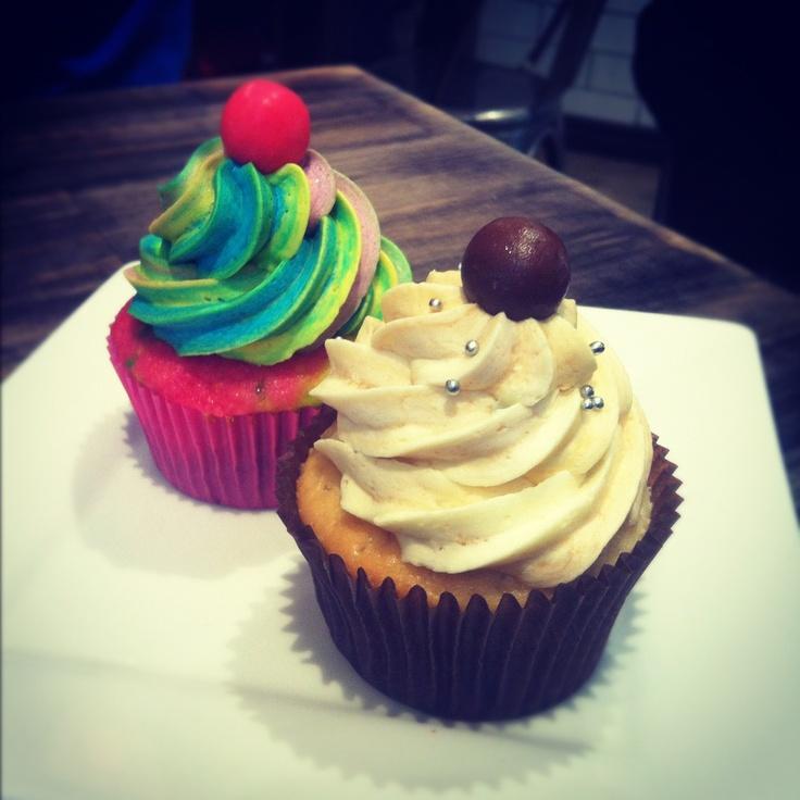 Rainbow and Malteser cupcakes
