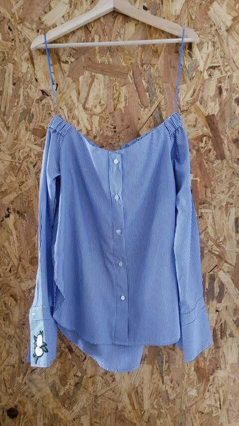 Camisa Azul e Branca às Riscas 🔝Made in Portugal. Preço sob consulta #tendencia #roupa #imagina #fashion #modafeminina