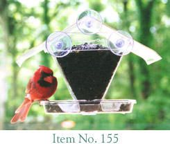 155  Window Cafe. Clear roof overhangs the seed tray to protect seed from rain. Lifetime guarantee. 3/4 quart capacity. Seed reservoir slides out for easy filling and cleaning.