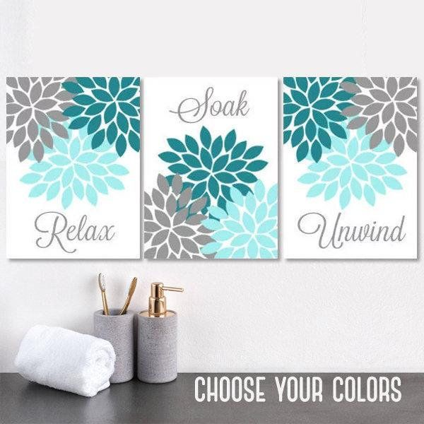 Teal Gray Bathroom Decor Bathroom Wall Art Prints Or Canvas Etsy Blue Bathroom Decor Floral Bathroom Gray Bathroom Decor