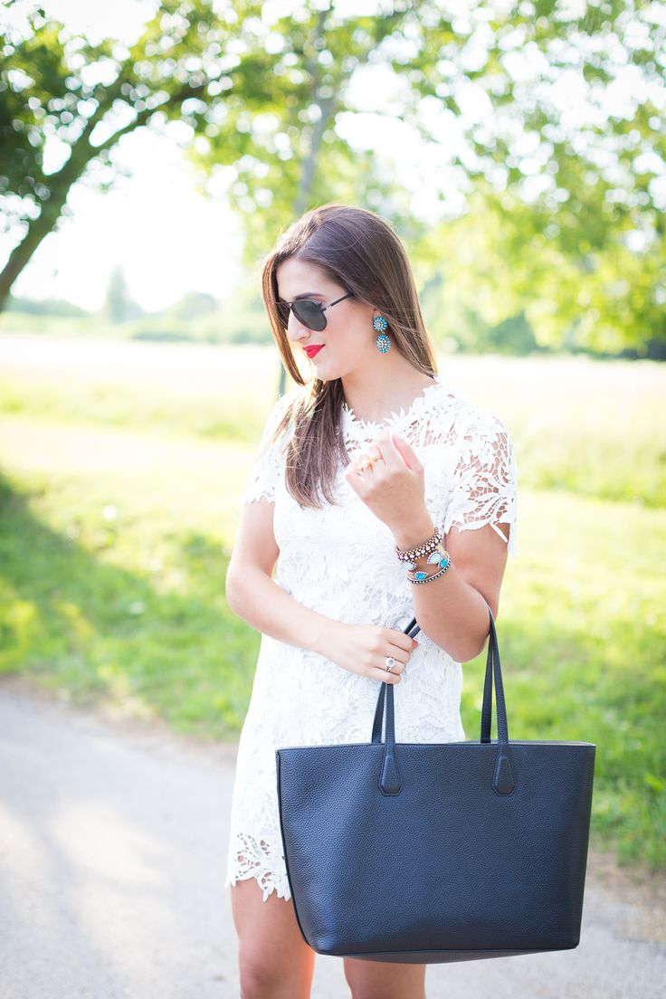 White Lace Dress and Tory Burch Tote // A Southern Drawl
