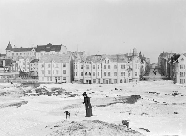 Walking the dog, Helsinki, Finland, ca. 1900
