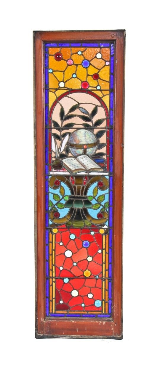 phenomenal c. 1880's american victorian era interior david c. cook mansion stained glass window containing a baked enameled globe, textbook and feather pen