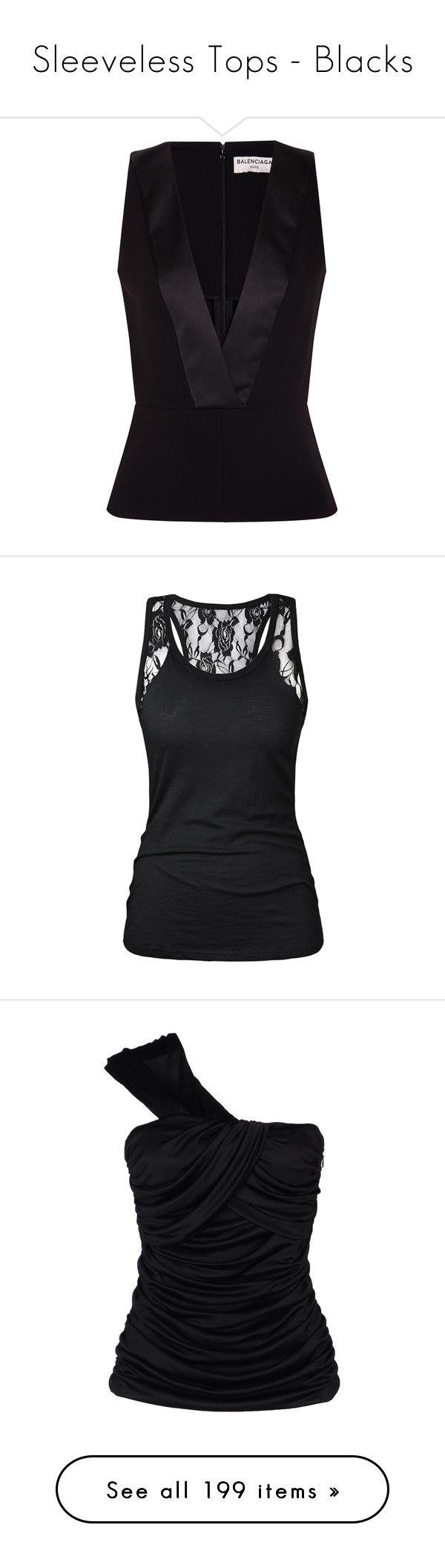 """Sleeveless Tops - Blacks"" by jacci0528 ❤ liked on Polyvore featuring tops, shirts, blusas, blouses, tanks, black, peplum shirt, shirt top, balenciaga and balenciaga shirt"