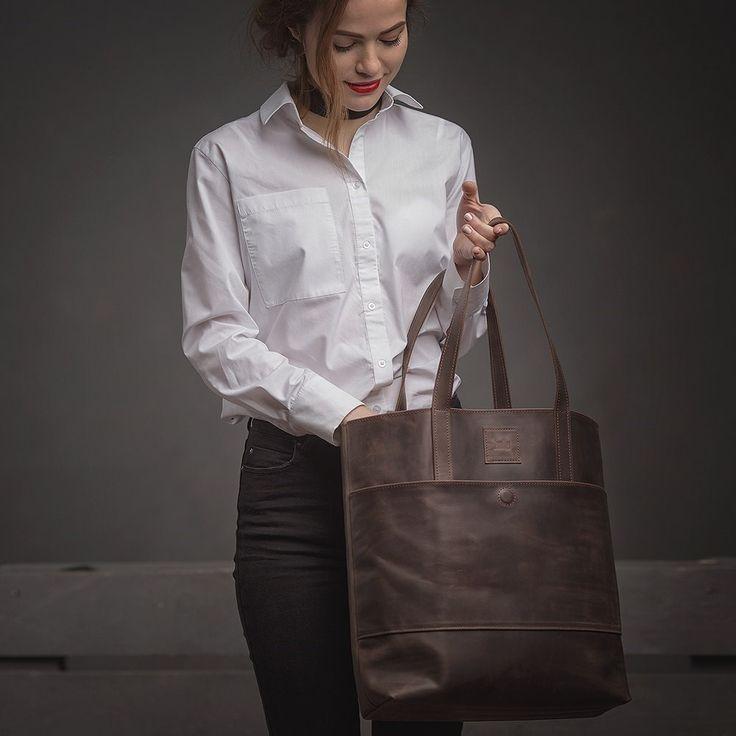 Dámská kožená kabelka - hnědá