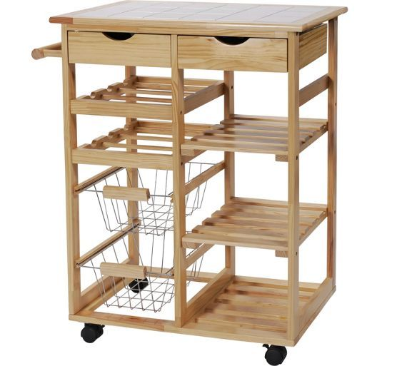 Buy HOME Pine Tile Top Kitchen Trolley at Argos.co.uk - Your Online Shop for Kitchen trolleys, Kitchen storage, Cooking, dining and kitchen equipment, Home and garden.