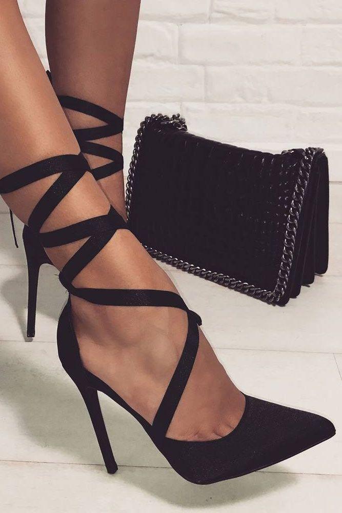 36 Hottest Black Strappy Heels Designs