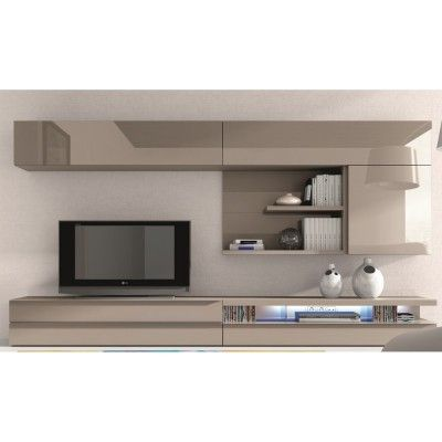 Meuble tv design laqu beige maya atylia salons for Atylia meuble tv