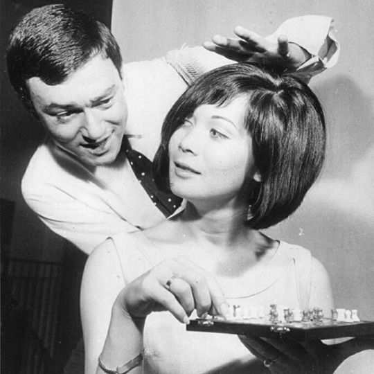 Nancy Kwan playing chess whilst having her now legendary Vidal Sassoon cut,