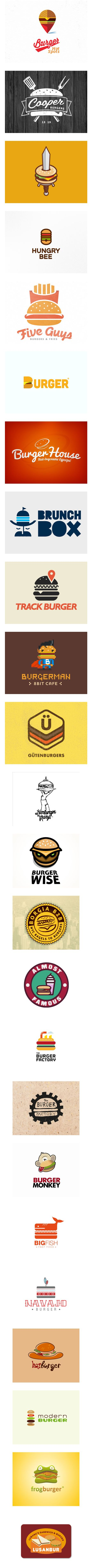 Yummy looking logos that match up with the product they are selling. Aiming at a young cool kids crowd it apears. Cool ways of looking at a burger design in many different ways. Its funky its fresh but is it tasty...looking at these images are almost filling. Are we eating food or watching cartoons?!