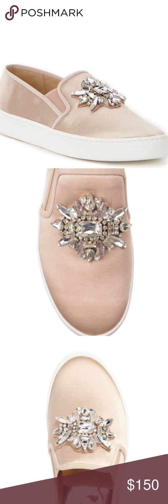 BADGLEY MISCHKA JEWEL EMBELLISHED SLIP ON SNEAKER Brand new in box, latte satin color, logo on sole, crystal jewel embellished. Badgley Mischka Shoes Sneakers