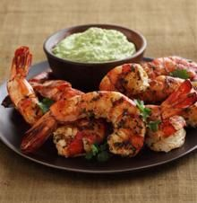 Grilled Cilantro-Lime Shrimp with Spicy Hass Avocado Puree Recipe - would have to sub out the sour cream... not sure but maybe coconut cream would work here