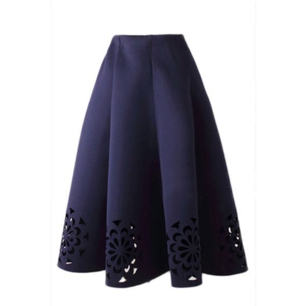 Yoins Navy Blue Midi Full Skirt With Cut Flowers Hem (105 RON) ❤ liked on Polyvore featuring skirts, yoins, blue, bottoms, flower print skirt, lace up skirt, cotton midi skirt, floral midi skirts and navy skirt