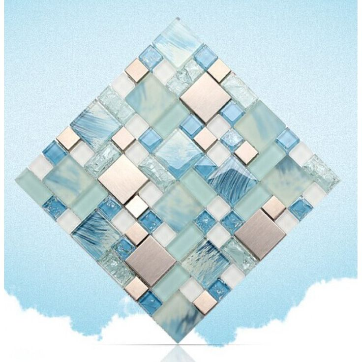 Blue Glass Mosaic Sheets Stainless Steel Backsplash