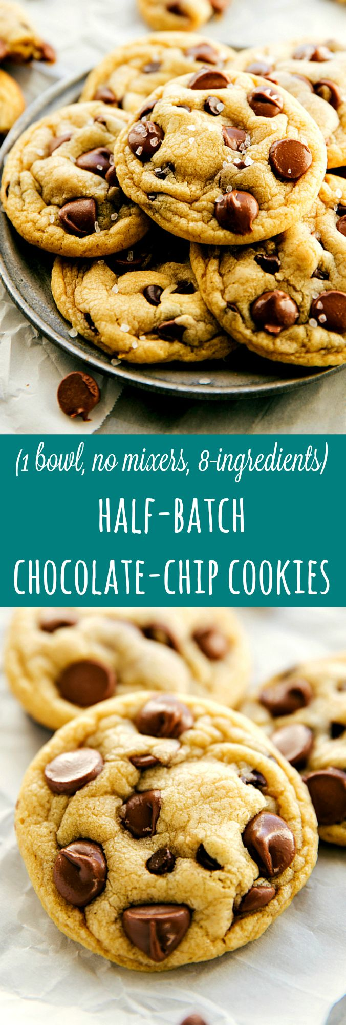 Easiest Half-Batch Chocolate Chip Cookies (One Bowl, No Mixer Required) | Chelsea's Messy Apron Commenter said Well this recipe is amazing! Perfect cookies, the best ones I've ever made.