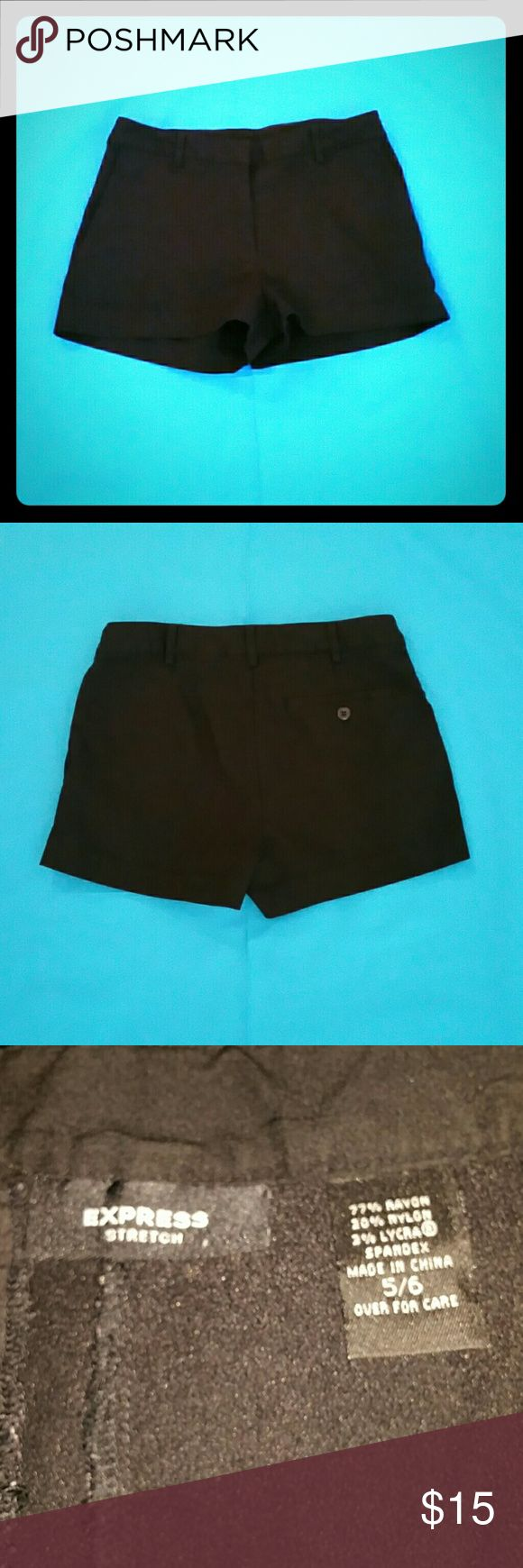 Express, Black stretch shorts with pockets Black stretch shorts with pockets. Size 5/6 Express Shorts