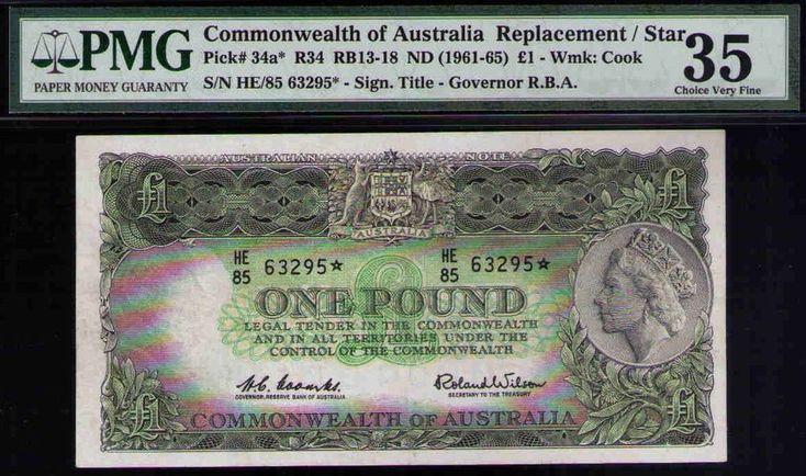 Australia QE 1961 ONE Pound * star note Replacemt PMG 35 CHOICE VF PICK# 34a R34