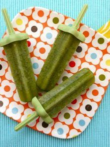 Green Ice Pops. Popsicles made with 4 ingredients: kale (or other green