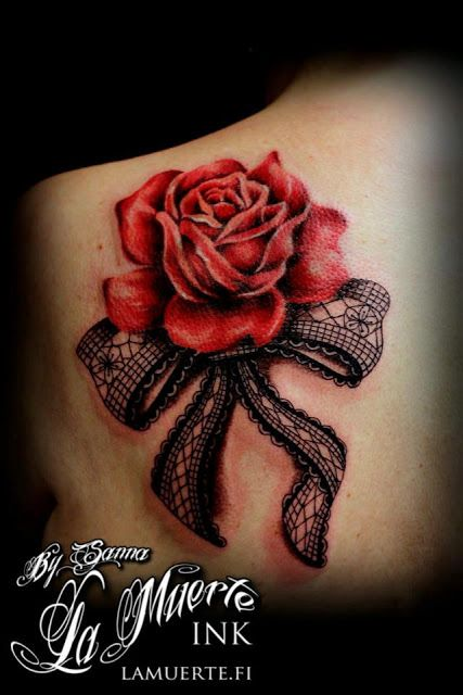 Red rose and black lace tattoo