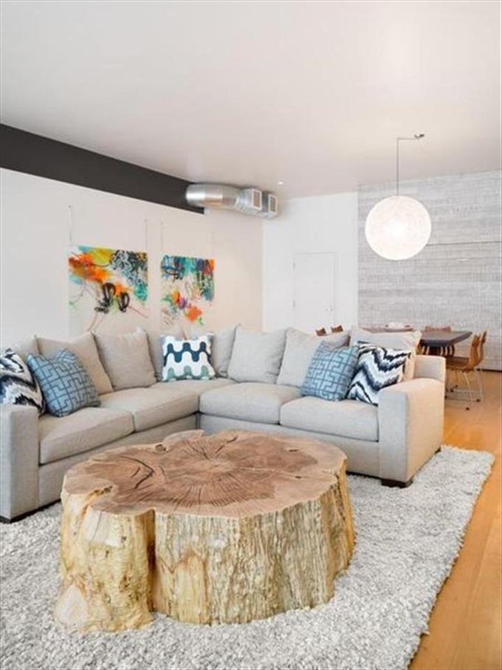 Large Tree Trunk Coffee Table- 45 Amazing Ideas With Recycled Tree Trunks | DIY to Make