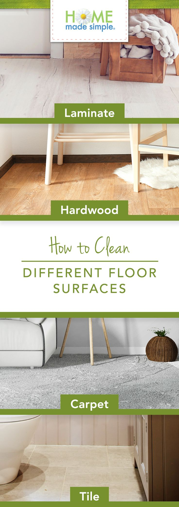 How to clean hardwood, laminate, tile and carpet floors. Bonus: Don't miss a spot with our room-by-room floor cleaning checklist. https://www.pgeveryday.com/home/home-decor/article/floor-cleaning-tips